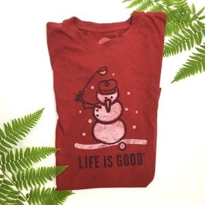 NWOT Life is Good Brand Red Snowman Christmas Tee